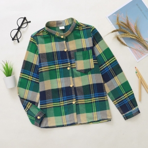 Kid Boy Plaid Stand Collar Shirt