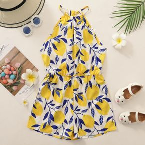 Pretty Kid Girl Lemon Print Halter Romper