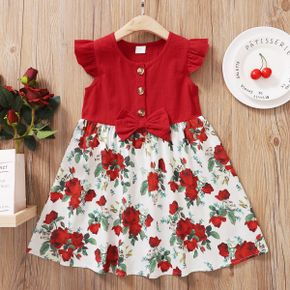 Toddler Girl Bowknot Lovely Floral  Dress