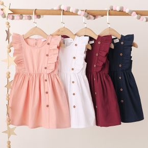 1pc Baby Girl Sleeveless cotton Solid casual Dress
