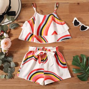 Pretty Kid Girl Rainbow Bowknot Slip Top Casual Suits