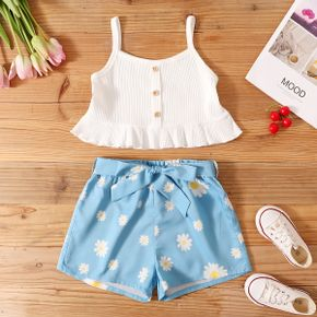 Kid Girl Button Flounced Slip Top Bowknot Floral Daisy Shorts 2-piece Suits