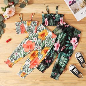 Toddler Girl Flower Print Tight Tank And Pants