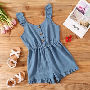 Trendy Kid Girl Flounced Button Solid Rompers