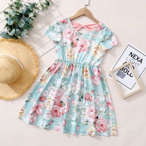 Beautiful Kid Girl Floral Print Bowknot Dress