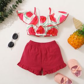 2pcs Baby Girl Flutter-sleeve Watermelon Print Baby's Sets