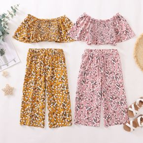 Fashionable Kid Girl Floral Off Shoulder Top Casual Suits