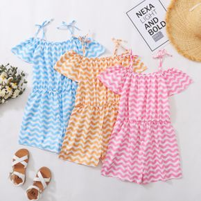 Pretty Kid Girl Off Shoulder Bowknot Decor Colorful Striped Rompers