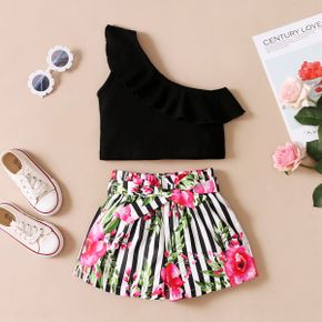 Toddler Girl One-Shoudler Ruffle Flounce Top And Floral Print Shorts