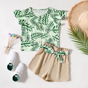Kid Girl Leaf Print Flutter-sleeve Top and Solid Shorts with Waistband