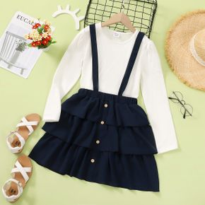 2-piece Kid Girl 100% Cotton Long-sleeve White Top and Ruffled Solid Suspender Skirt