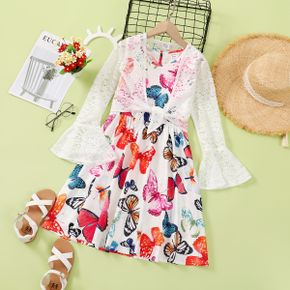 2-piece Kid Girl Butterfly Print Sleeveless Dress and Long Bell sleeves Lace Smock Set