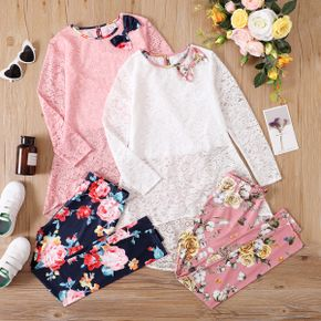 2-piece Kid Girl Bow Decor Long-sleeve Lace Top and Floral Print Pants Set