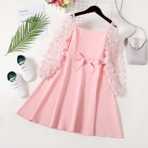 Kid Girl Flower Embroidery Square Neck Mesh Long-sleeve Dress with Bow Belt