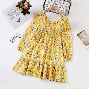 Kid Girl Floral Print Square Neck Long-sleeve Pleated Dress