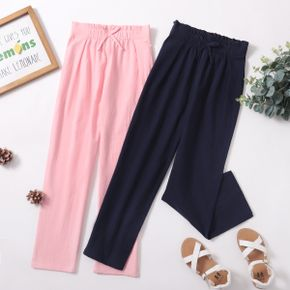Kid Girl 100% Cotton Bowknot Decor Elasticized Solid Casual Pants with Pocket (Multi Color Available)