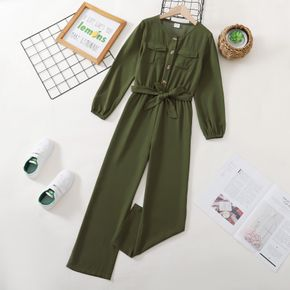 Kid Girl Button Design Long-sleeve Solid  Jumpsuit with Pocket and Belt