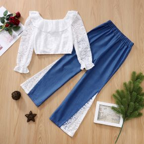 2-piece Kid Girl Doll Collar Long-sleeve White Lace Top and Denim Splice Pants Set