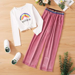 2-piece Kid Girl Letter Rainbow Print Tie Knot Long-sleeve Top and Striped Elasticized Pants Set