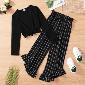 2-piece Kid Girl 100% Cotton Tie Knot Long-sleeve Solid Top and Stripe Ruffled Pants