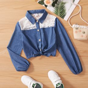Kid Girl Lace Stitching Tie Knot Button Down Long-sleeve Denim Shirt