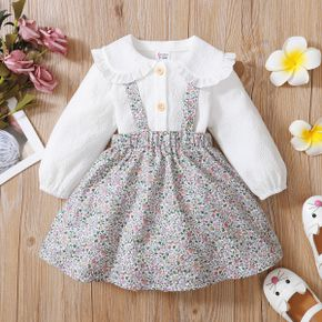 2-piece Toddler Girl Doll Collar Button Down White Blouse Top and Floral Print Suspender Skirt Set