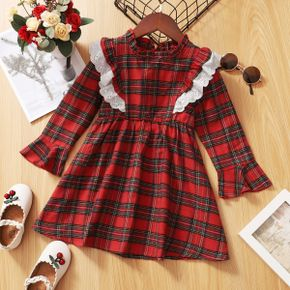 Toddler Girl Stand Collar Ruffled Bell sleeves Red Plaid Dress