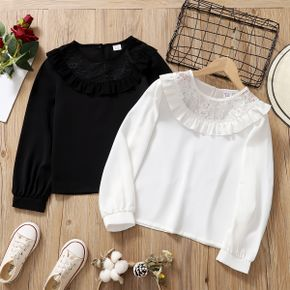 Pretty Kid Girl Flounce Lace Mesh Collar Long-sleeve Solid Blouse