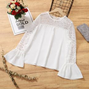Pretty Kid Girl Floral Lace Design Flare sleeve Shirt