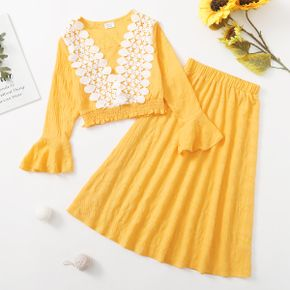 2-piece Kid Girl Lace Design Smocked Hem Bell sleeves Blouse and Yellow Skirt Set