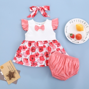 3pcs Baby Girl Sweet Floral Flutter-sleeve Cute Cotton Baby's Sets
