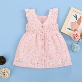 100% Cotton Solid Flutter-sleeve Baby Dress