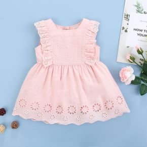 1pc Baby Girl Flutter-sleeve Cotton Solid Cotton Princess Summer Dress