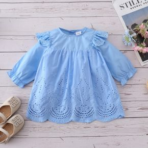 100% Cotton Solid Blue Hollow Long-sleeve Baby Dress
