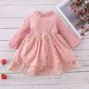 100% Cotton Pink Ribbed and Floral Lace Splicing Baby Dress
