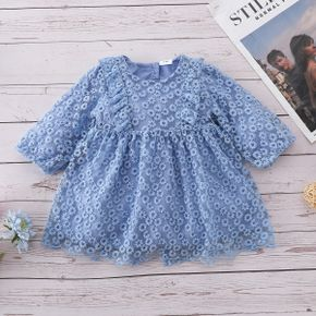 100% Cotton All Over Blue Floral Embroidered Mesh Splice Baby Dress