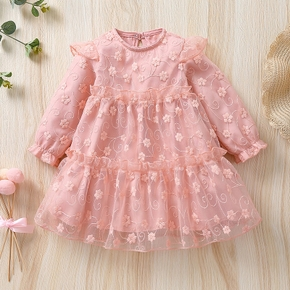 Baby Pink Floral Embroidered Long-sleeve Tiered Mesh Dress