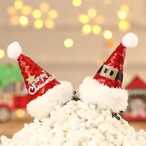 Christmas ornament plush Christmas hat pet hairpin