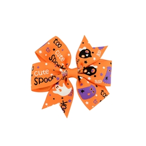 Halloween contrast ribbed pet hairpin with bow