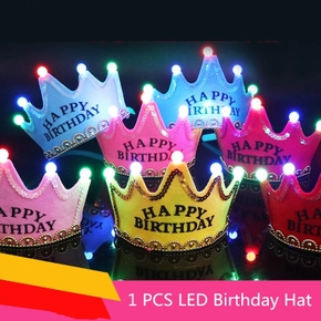 Party Hat Flashing Light LED Glow Hats Headband Adult Kids Princess Crown Cap Happy Birthday Decorations Party Kids