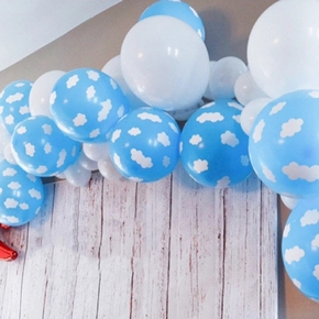 10Pcs Blue Sky Clouds Printed Latex Balloon Supplies Balloons Party Decoration Supplies Happy Birthday Accessories