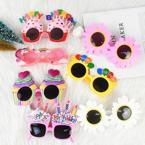 Sunflower Plastic Glasses Home Decor Happy Birthday To Children Creative Party Photo Adult Decoration Funny