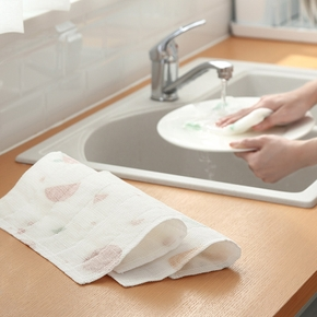 4PCS Cleaning Cloths Eight-layer Printed Wood Fiber Non-oily Dish Washing Towel Decontamination Wipes Kitchen Tools Clean Towel