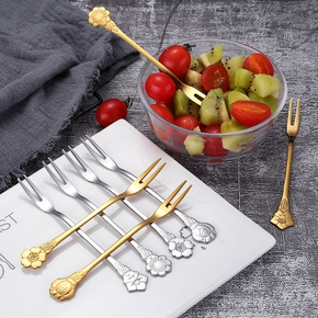 4PCS 13cm Kitchen Accessories Creative Dessert High Quality Home Supplies Stainless Steel Flowers Shape Fruit Fork