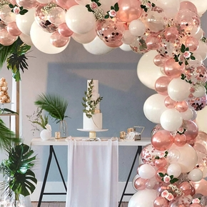 Rose Gold Confetti Latex Balloons 111 Pack Birthday Balloons with 33 Feet Rose Gold Ribbon for Party Wedding Bridal Shower Decorations
