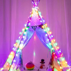 2m 10 Lamp Beads Metal Five-Pointed Star LED String Lights Home Bedroom Decor Party Waterproof Outdoor Garden Decoration Light