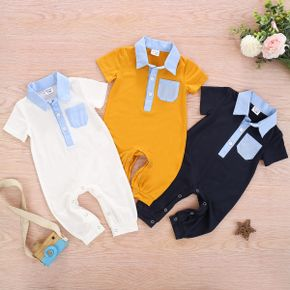 Baby Casual Polo Collar Pocket Design Jumpsuit