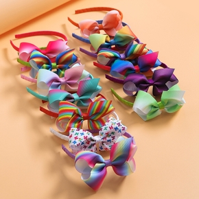Colorful Rainbow Bowknot Hairbands for Girls