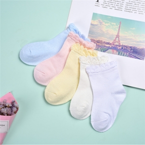 5-pack Baby / Toddler / Kid Solid Flounced Socks