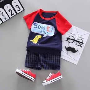 2pcs Baby Boy Short-sleeve Cotton Street style Animal & Dinosaur Baby's Sets